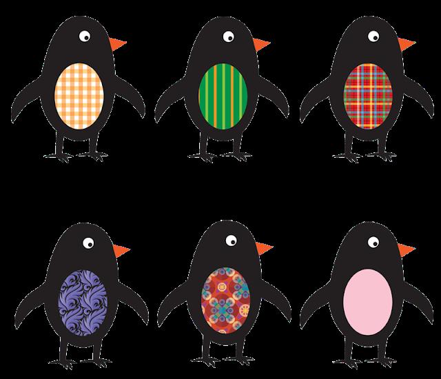 6 cute penguins -- clip art
