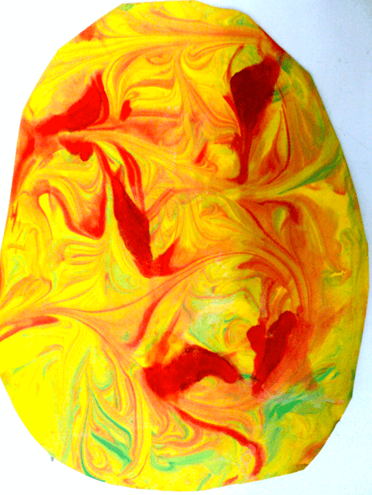 Easter art for grade 1. Painting bunnies and shaving cream eggs.