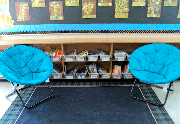 Moon chairs for classroom reading corner