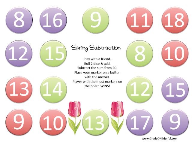 Spring Subtraction Game: www.GradeONEderful.com