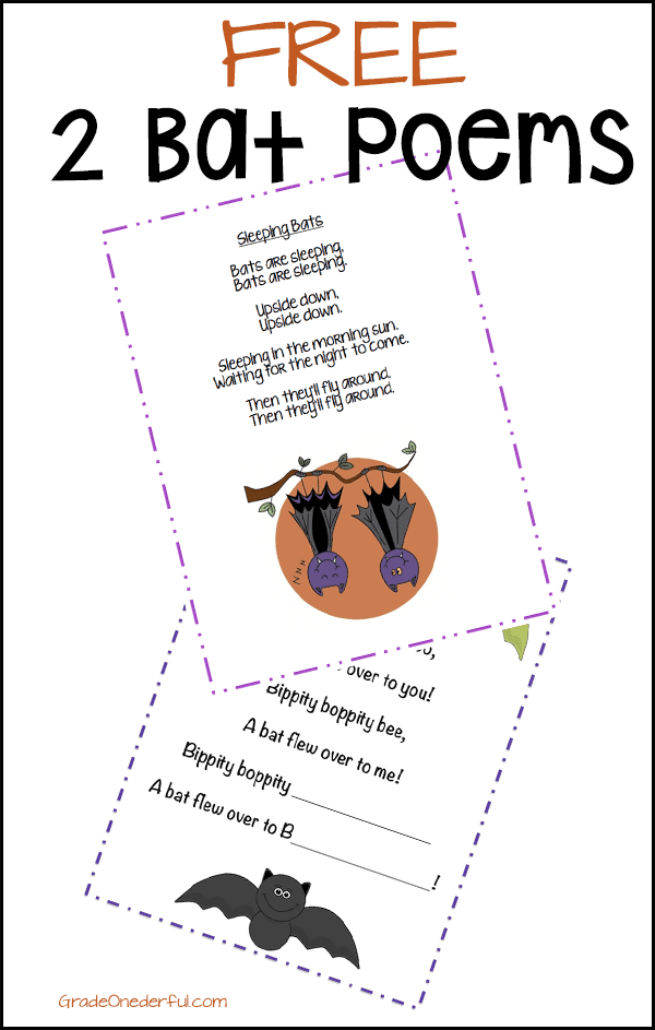 Two free bat poems. Perfect for K to 2.