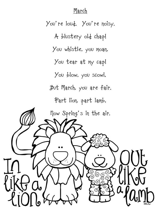 Lion Lamb poem freebie. #lionlamb #poetry #marchpoems