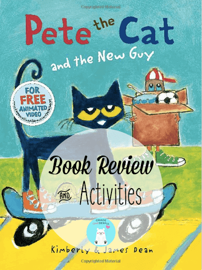 Book Review: Pete the Cat and the New Guy. Also, lots of book related FREEBIES! #petethecat #gradeonederful #booksforkids #kidsbooks