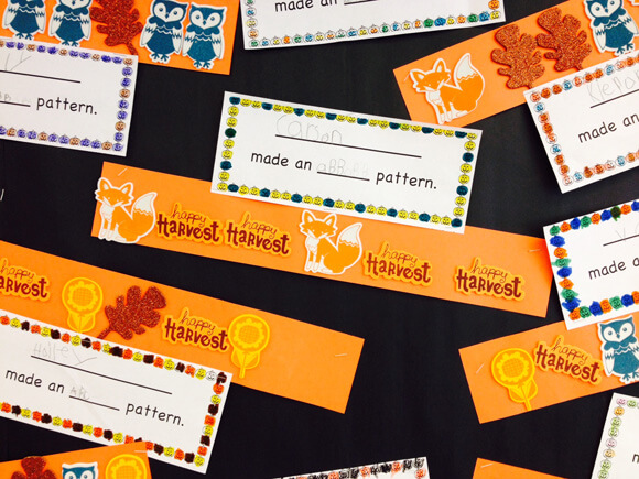 Autumn Halloween Math pattern lesson for kindergarten or first grade. This is a super fun activity that uses foam stickers. My first graders LOVE this lesson!