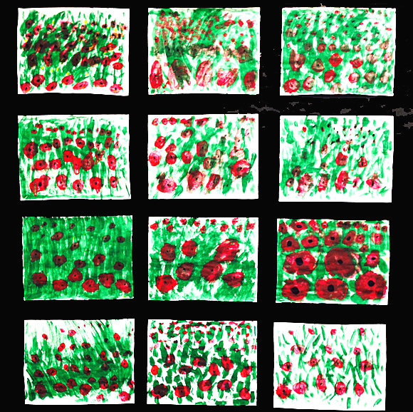 Painted field of poppies. A Remembrance Day art project for first grade. GradeONEderful.com