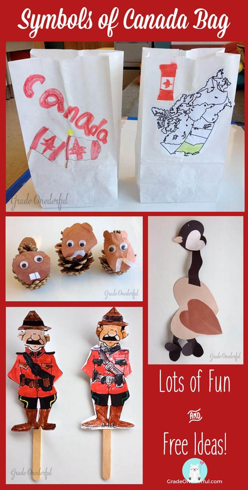 Symbols of Canada Bag. Perfect for 1st and 2nd Grade. Lots of fun craft ideas to fill your Canada bag.