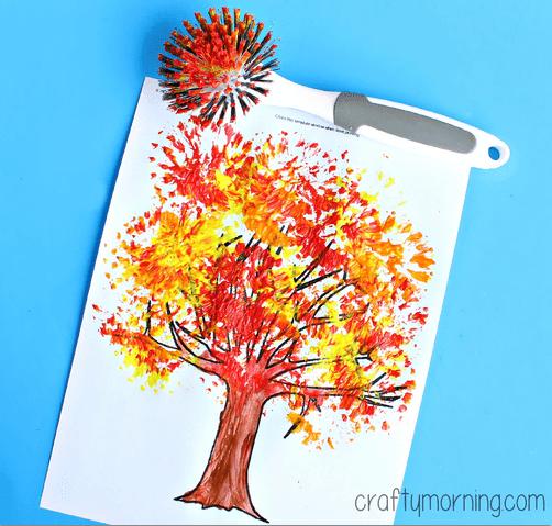 fall tree using scrub brush for beautiful texture originally from Crafty Morning