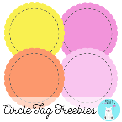 4 Free clipart circle tags in yellow, orange, light pink, dark pink. Each tag has stitching and scalloped edges. Images are each  7 inches wide. Made by www.GradeOnederful.com.
