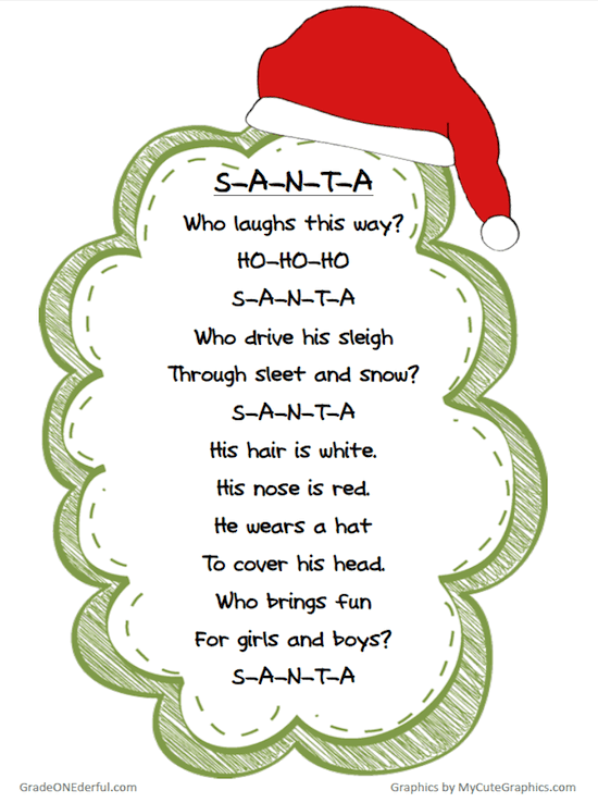 Free Christmas Poem Printable: A free printable of a very cute Santa poem. Five versions in colour and black and white.