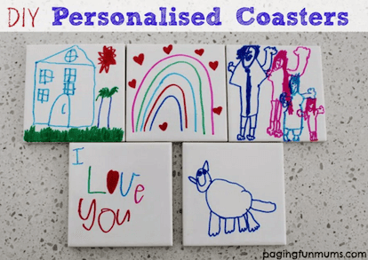 Personalised coasters for kids to make for Christmas. Salt dough ornament gifts for kids to make for Christmas. Easy Low Prep Christmas Gifts Kids Can Make! A collection of 10 Christmas gifts for kids to make for their parents. Fast, inexpensive and relatively low prep. You\'re gonna love \'em! #christmas #christmasgifts #christmasgiftskidsmake