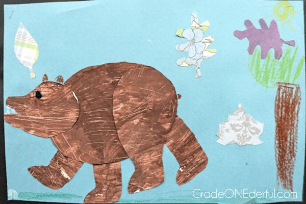 Brown bear art. Bear studies in a grade 1 class.