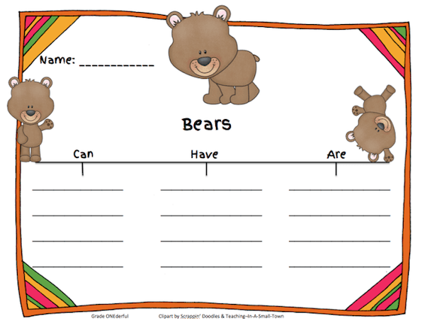 Bears can, have, are, freebie. Bear studies in a grade 1 class.