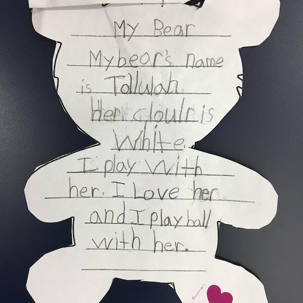 Written descriptions of teddy bears by 1st Grade students
