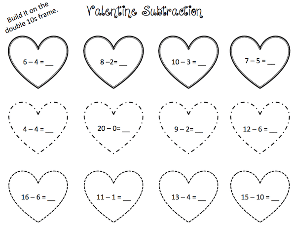 Valentine subtraction sheet for grade 1