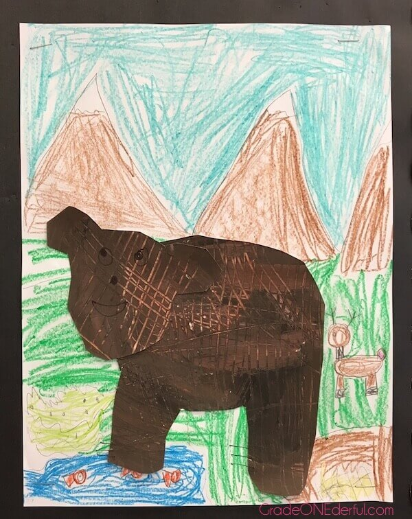 Bear paintings by 1st Grade students