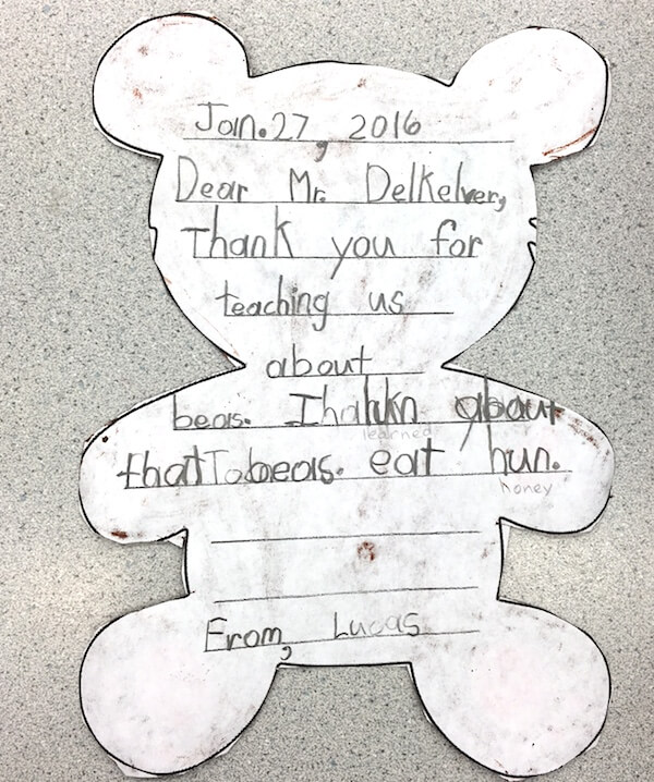 Writing thank you notes by 1st Grade students
