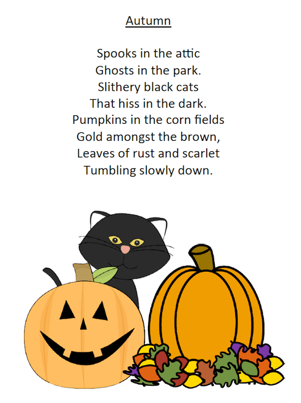 Autumn Spooky Pumpkin Poem for first grade. Free Printable.
