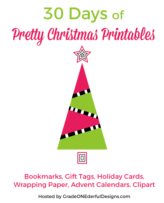 Welcome to 30 Days of Pretty Christmas Printables compiled by Grade Onederful! I'll be sharing beautiful holiday inspired printables such as bookmarks, gift tags, Christmas cards, clipart and more from all sorts of talented bloggers and designers.