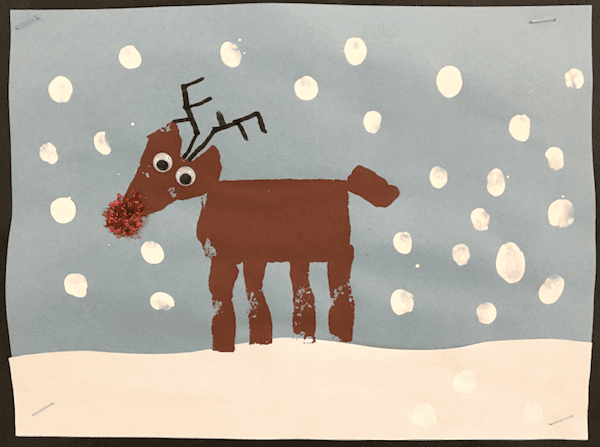 Four fun and cute reindeer crafts for six-year olds to make: A card, ornament, gift bag, and sponge painting. GradeONEderful.com