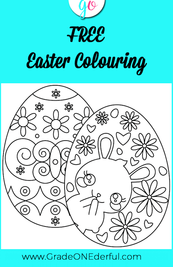2 FREE Egg-Shaped Easter Colouring Sheets for Kids. Created by GradeONEderful.com