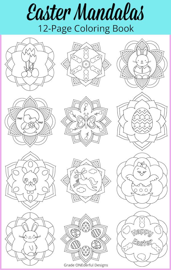 Easter mandalas colouring book