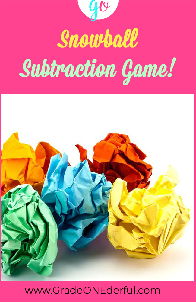 SNOWBALL SUBTRACTION! Free Subtraction Game for first grade. Subtracting 1, 2, 3 from 11 to 20. GradeONEderful.com