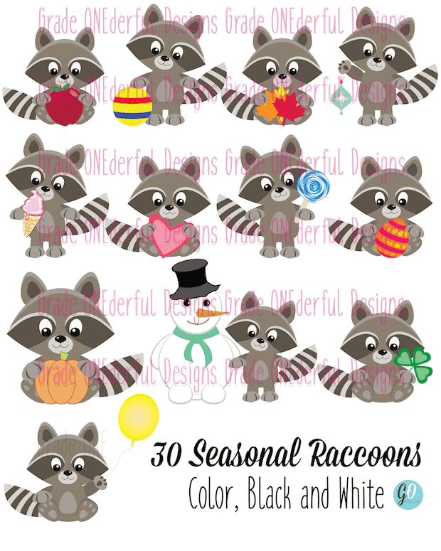 Month by Month Raccoon Clipart