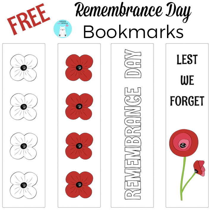 Free Remembrance Day bookmark templates. Two in colour and two in black and white. Also links to lots of Remembrance Day (Veterans Day) writing, art, and books. All free! GradeONEderful.com