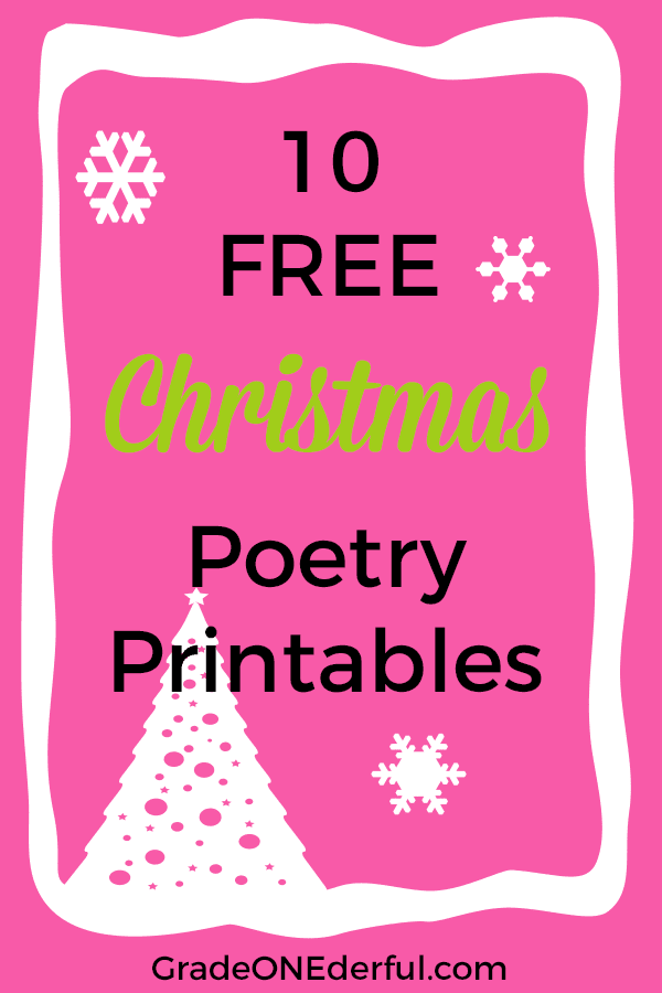 10 free Christmas poetry printables. Perfect for K to 3.