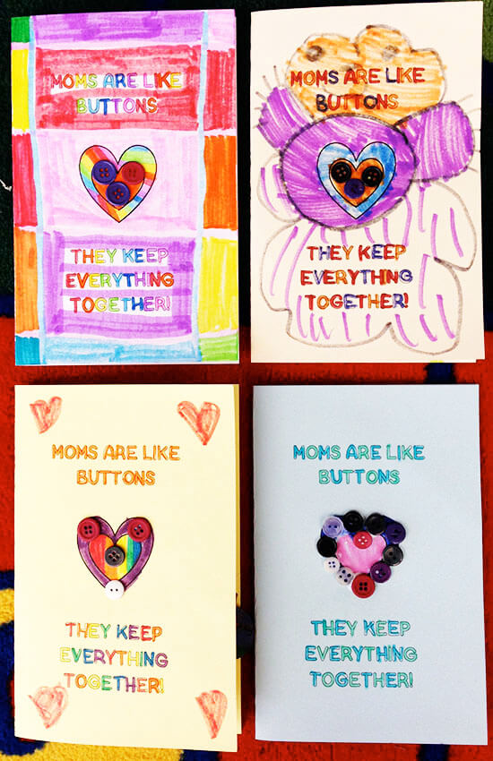 Cute button card for kids to make for Mother's Day