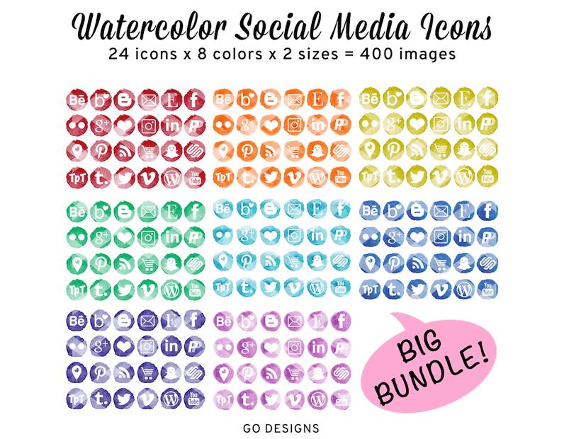 Beautiful bundle of watercolor social media icons