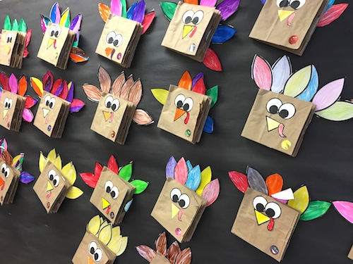 Lots of Thanksgiving Ideas for the primary classroom (K to 2). Roll a Feather math game, Patterned Turkey art, Turkey Bump, Thankful Turkey booklets and MORE! All but one is FREE. #thanksgiving #gradeonederful #firstgrade #firstgradewriting #thanksgivingwriting