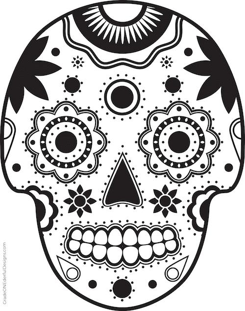 Free sugar skull coloring page