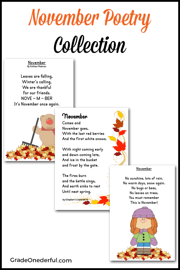 Freebie! 3 November poems for kids. There are 3 versions of each poem: colour, bw, and plain. #gradeonederful #november #novemberpoems #poetry #poemsforkids
