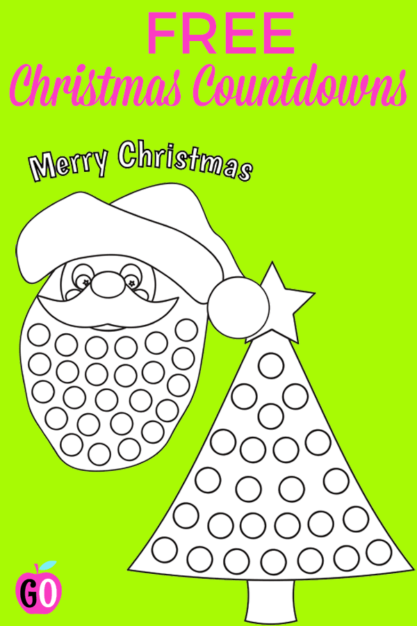 Santa Claus and Christmas Tree Countdown Freebies. I have 2 cute countdown to Christmas Advent calendars for you. Kids love printing their own numbers, coloring them and then adding cotton puffs or colored pom poms. #gradonederful #christmasfreebies #christmas #christmascountdowncalendar #santacountdowncalendar