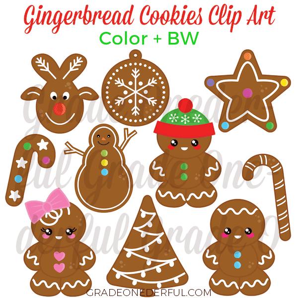 Christmas clip art. Gingerbread cookies clip art. #gradeonederful #christmas #gingerbread #christmasclipart #clipart