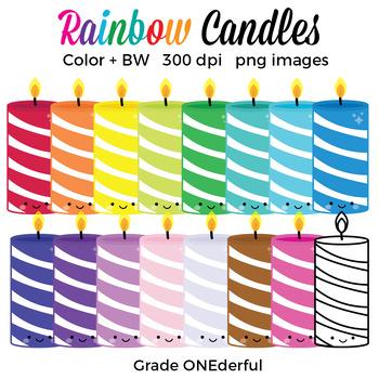 Free Rainbow Candles Clip Art
