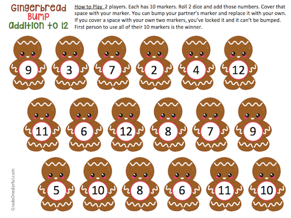 Free Math Games. You\'re going to love these cute Christmas math games: Gingerbread Bump. There are two versions (addition to 12 and to 18). Plus, you get both the colored and black and white versions! #gradeonederful #christmas #christmasmath #gingerbread #mathgamesforkids #additiongames
