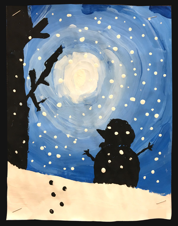 Christmas Art for Kids. Need some inspiration? I have lots of beautiful art ideas for kids, including the sweetest Christmas card. #gradeonederful #silhouetteart #christmas #christmasart #christmasartforkids
