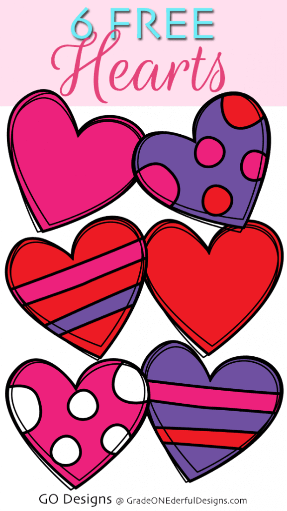 Free Clipart: 6 Gorgeous Valentine Hearts
