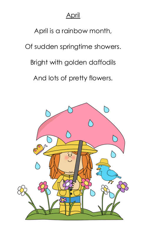 A free April poem printable. Perfect for K to 2. Includes colour and black/white versions. #aprilpoems #aprilpoemsforkids #gradeonederful