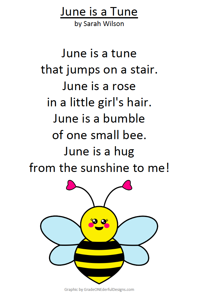 June is a Tune. A beautiful poem by Sarah Wilson. You can grab your free copy (both colour and B&W), plus the cute bee graphic.