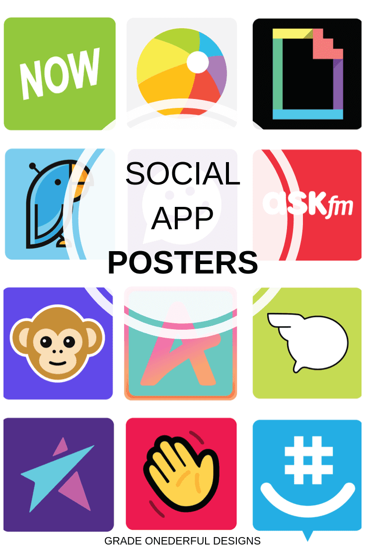 Are you teaching internet safety and need a set of great looking visuals? I have you covered with this set of poster-sized social apps kids are using. There are 30 different images, in both color and black and white. They\'re perfect for bulletin boards, group work and presentations. You\'ll receive both a pdf of 60 icons PLUS 60 individual png files.