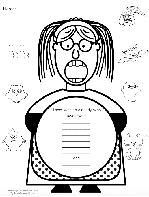 A FREE 7-page UPDATED sequencing printable for The Old Lady Who Swallowed a Bat. GradeONEderful.com
