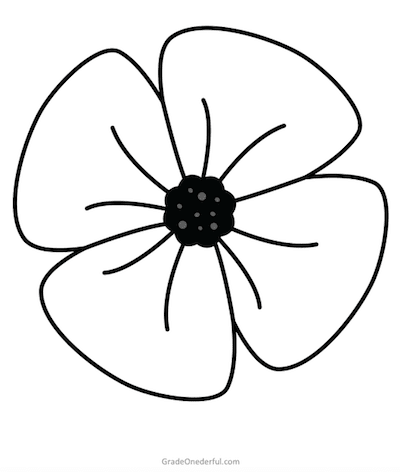 Remembrance Day Colouring Book. This little book includes a large poppy, a cross with poppies, a grid poppy, and an example of how to colour and display the grid poppy. Free! Perfect for Pre-K to Grade 2.