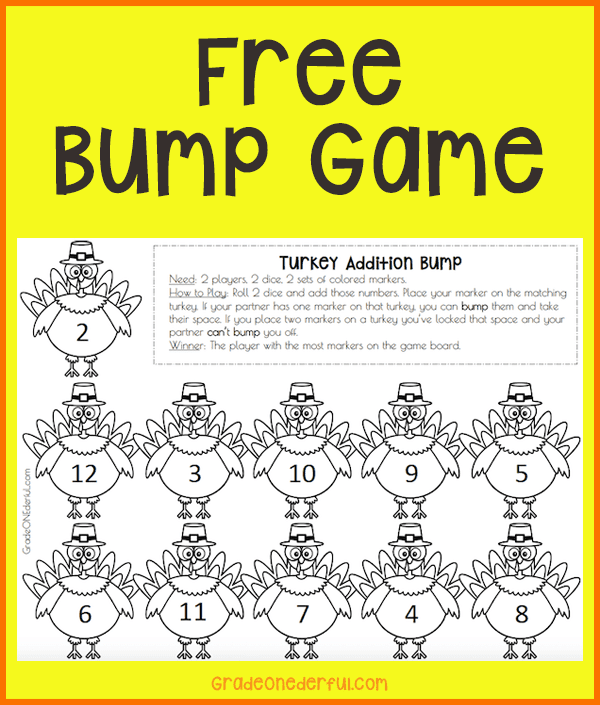 Free Turkey Bump Math Game to practice addition to 12. Perfect for K and Grade 1.