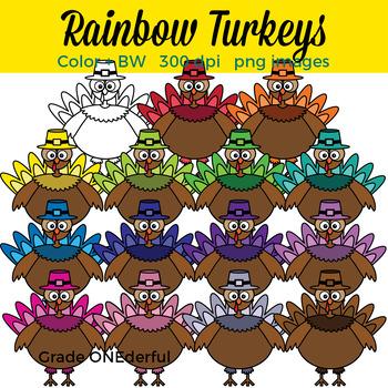 Rainbow Turkeys Clip Art. Colored and BW.