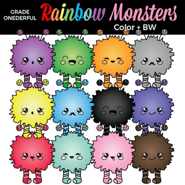 https://www.teacherspayteachers.com/Product/Rainbow-Monsters-Clip-Art-4995320