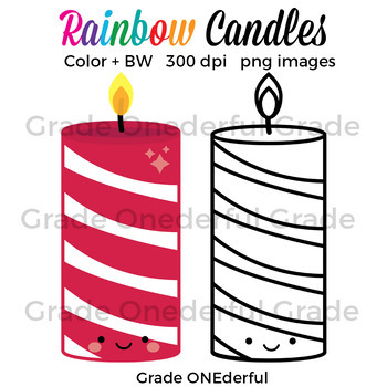 Free: Rainbow Candles Clip Art. This sweet set of candles can be used in your teacher products, games, calendar cards, flash cards, whatever you like. I hope you enjoy them!