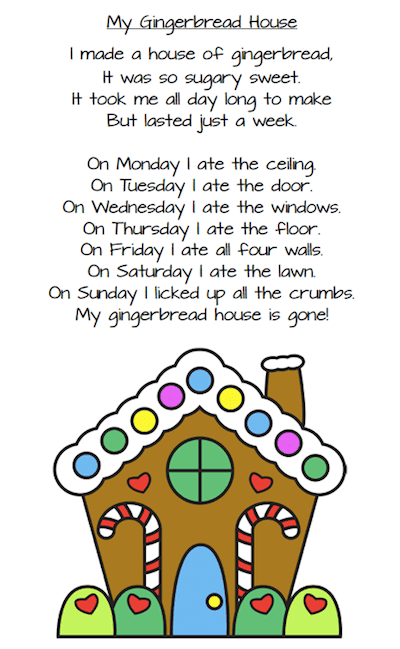 Three Christmas poems for young children (Peppermint Stick, December, My Gingerbread House) for primary students. These printables are free. #christmaspoems #poemsforkids #gradeonederful